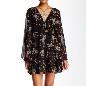 Free People Lilou Floral Dress Bell Sleeves S Tie